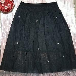 Lane Bryant Mesh Skirt with Embellishments